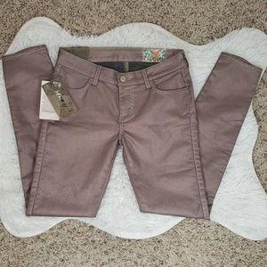 NWT Siwy Slim Cropped Metallic Pink Jeans Sz25 #27